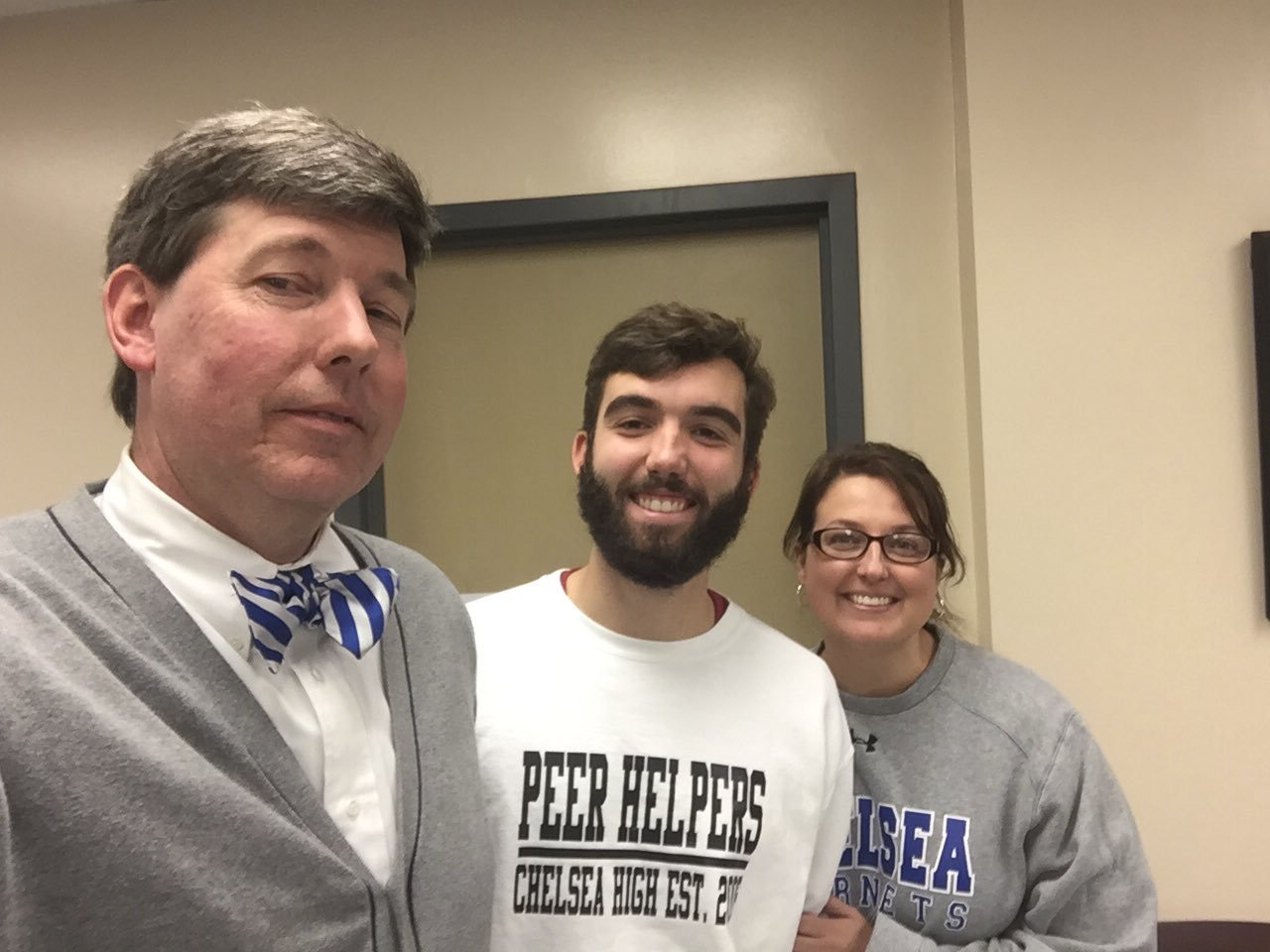 Evan with Mr. Trucks and Ms. Fowler.