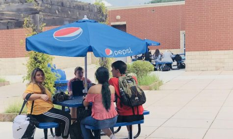 Upperclassmen relish the luxury of being able to eat their lunch outside in the courtyard.
