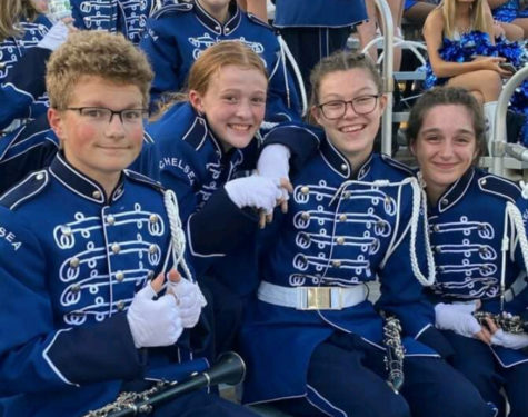 The clarinet section poses for a quick photo.